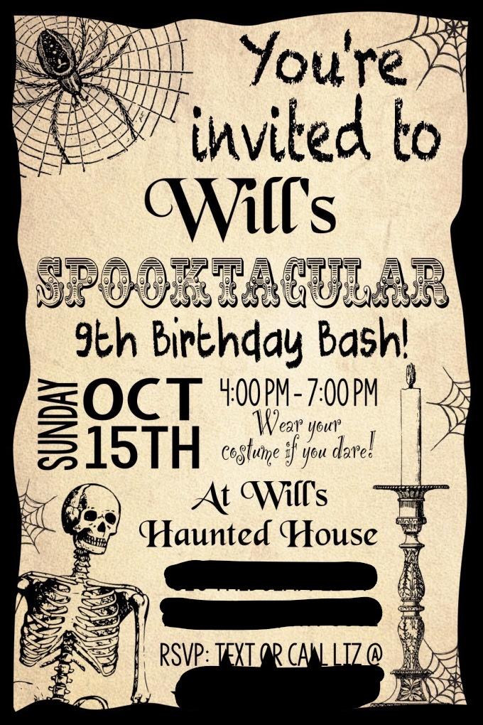 Spooktacular Birthday Bash Costume Party Invitation