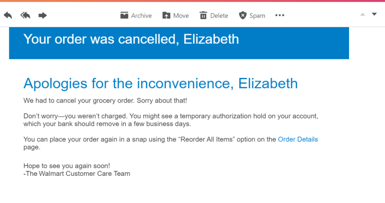 Walmart cancellation